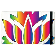 Rainbow Lotus Flower Silhouette Apple Ipad 3/4 Flip Case by Nexatart