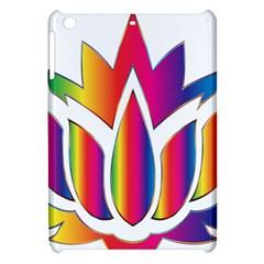 Rainbow Lotus Flower Silhouette Apple Ipad Mini Hardshell Case by Nexatart