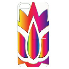 Rainbow Lotus Flower Silhouette Apple Iphone 5 Hardshell Case With Stand by Nexatart