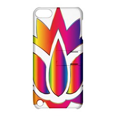Rainbow Lotus Flower Silhouette Apple Ipod Touch 5 Hardshell Case With Stand