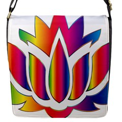 Rainbow Lotus Flower Silhouette Flap Messenger Bag (s) by Nexatart