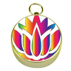 Rainbow Lotus Flower Silhouette Gold Compasses