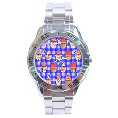 Cake Pattern Stainless Steel Analogue Watch