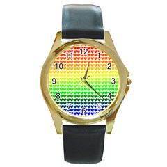 Rainbow Love Round Gold Metal Watch