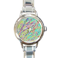 Crayon Texture Round Italian Charm Watch by Nexatart