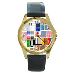 Texture Package Round Gold Metal Watch