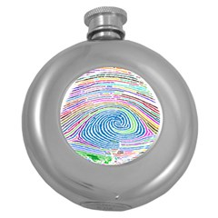 Prismatic Fingerprint Round Hip Flask (5 Oz)