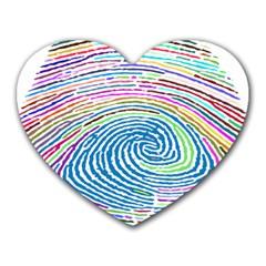 Prismatic Fingerprint Heart Mousepads by Nexatart