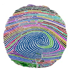 Prismatic Fingerprint Large 18  Premium Round Cushions