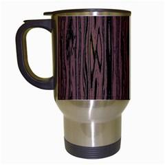 Grain Woody Texture Seamless Pattern Travel Mugs (white)