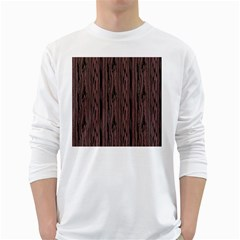 Grain Woody Texture Seamless Pattern White Long Sleeve T Shirts