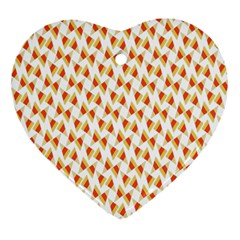Candy Corn Seamless Pattern Heart Ornament (two Sides)