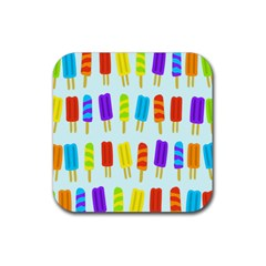 Popsicle Pattern Rubber Square Coaster (4 Pack)