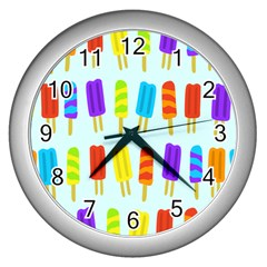 Popsicle Pattern Wall Clocks (silver)  by Nexatart
