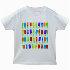Popsicle Pattern Kids White T Shirts