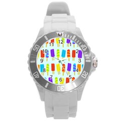 Popsicle Pattern Round Plastic Sport Watch (l) by Nexatart