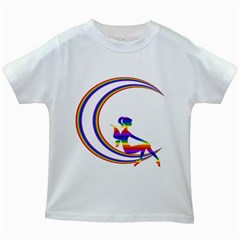 Rainbow Fairy Relaxing On The Rainbow Crescent Moon Kids White T Shirts