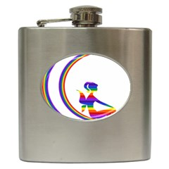 Rainbow Fairy Relaxing On The Rainbow Crescent Moon Hip Flask (6 Oz)
