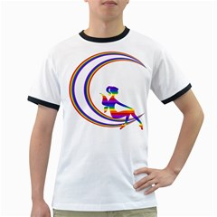 Rainbow Fairy Relaxing On The Rainbow Crescent Moon Ringer T Shirts