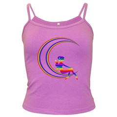 Rainbow Fairy Relaxing On The Rainbow Crescent Moon Dark Spaghetti Tank