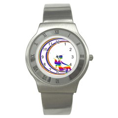 Rainbow Fairy Relaxing On The Rainbow Crescent Moon Stainless Steel Watch
