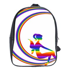 Rainbow Fairy Relaxing On The Rainbow Crescent Moon School Bags(large)  by Nexatart