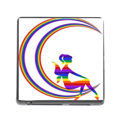 Rainbow Fairy Relaxing On The Rainbow Crescent Moon Memory Card Reader (square)