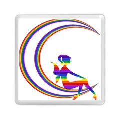 Rainbow Fairy Relaxing On The Rainbow Crescent Moon Memory Card Reader (square)  by Nexatart