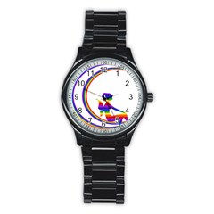 Rainbow Fairy Relaxing On The Rainbow Crescent Moon Stainless Steel Round Watch