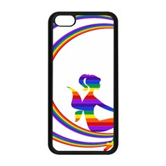 Rainbow Fairy Relaxing On The Rainbow Crescent Moon Apple Iphone 5c Seamless Case (black)