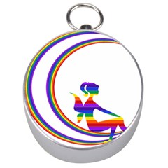 Rainbow Fairy Relaxing On The Rainbow Crescent Moon Silver Compasses