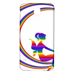 Rainbow Fairy Relaxing On The Rainbow Crescent Moon Samsung Galaxy S5 Back Case (white)