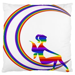 Rainbow Fairy Relaxing On The Rainbow Crescent Moon Standard Flano Cushion Case (two Sides) by Nexatart
