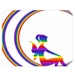 Rainbow Fairy Relaxing On The Rainbow Crescent Moon Double Sided Flano Blanket (medium)  by Nexatart