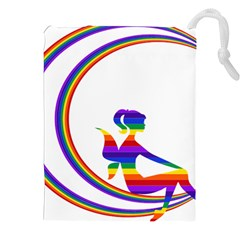 Rainbow Fairy Relaxing On The Rainbow Crescent Moon Drawstring Pouches (xxl) by Nexatart