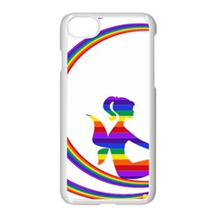 Rainbow Fairy Relaxing On The Rainbow Crescent Moon Apple Iphone 7 Seamless Case (white) by Nexatart