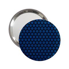 Blue Dark Navy Cobalt Royal Tardis Honeycomb Hexagon 2 25  Handbag Mirrors by Mariart