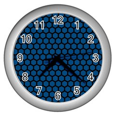 Blue Dark Navy Cobalt Royal Tardis Honeycomb Hexagon Wall Clocks (silver)  by Mariart