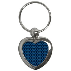Blue Dark Navy Cobalt Royal Tardis Honeycomb Hexagon Key Chains (heart)  by Mariart