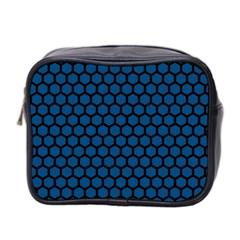 Blue Dark Navy Cobalt Royal Tardis Honeycomb Hexagon Mini Toiletries Bag 2 Side by Mariart
