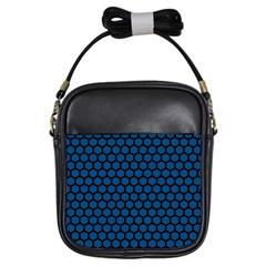 Blue Dark Navy Cobalt Royal Tardis Honeycomb Hexagon Girls Sling Bags by Mariart