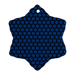 Blue Dark Navy Cobalt Royal Tardis Honeycomb Hexagon Snowflake Ornament (two Sides) by Mariart