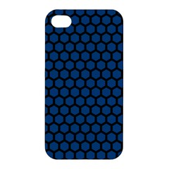 Blue Dark Navy Cobalt Royal Tardis Honeycomb Hexagon Apple Iphone 4/4s Hardshell Case by Mariart