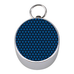 Blue Dark Navy Cobalt Royal Tardis Honeycomb Hexagon Mini Silver Compasses by Mariart