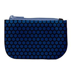 Blue Dark Navy Cobalt Royal Tardis Honeycomb Hexagon Large Coin Purse