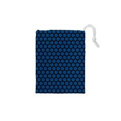 Blue Dark Navy Cobalt Royal Tardis Honeycomb Hexagon Drawstring Pouches (xs)  by Mariart