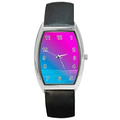 With Wireframe Terrain Modeling Fabric Wave Chevron Waves Pink Blue Barrel Style Metal Watch by Mariart