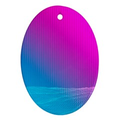 With Wireframe Terrain Modeling Fabric Wave Chevron Waves Pink Blue Oval Ornament (two Sides) by Mariart
