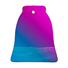 With Wireframe Terrain Modeling Fabric Wave Chevron Waves Pink Blue Bell Ornament (two Sides) by Mariart