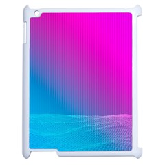 With Wireframe Terrain Modeling Fabric Wave Chevron Waves Pink Blue Apple Ipad 2 Case (white) by Mariart